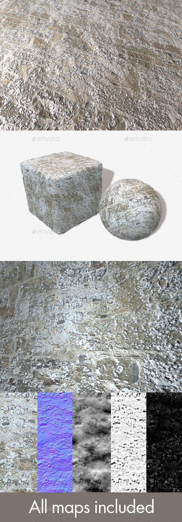 Stone Wall Limescale Seamless Texture - 3DOcean Item for Sale