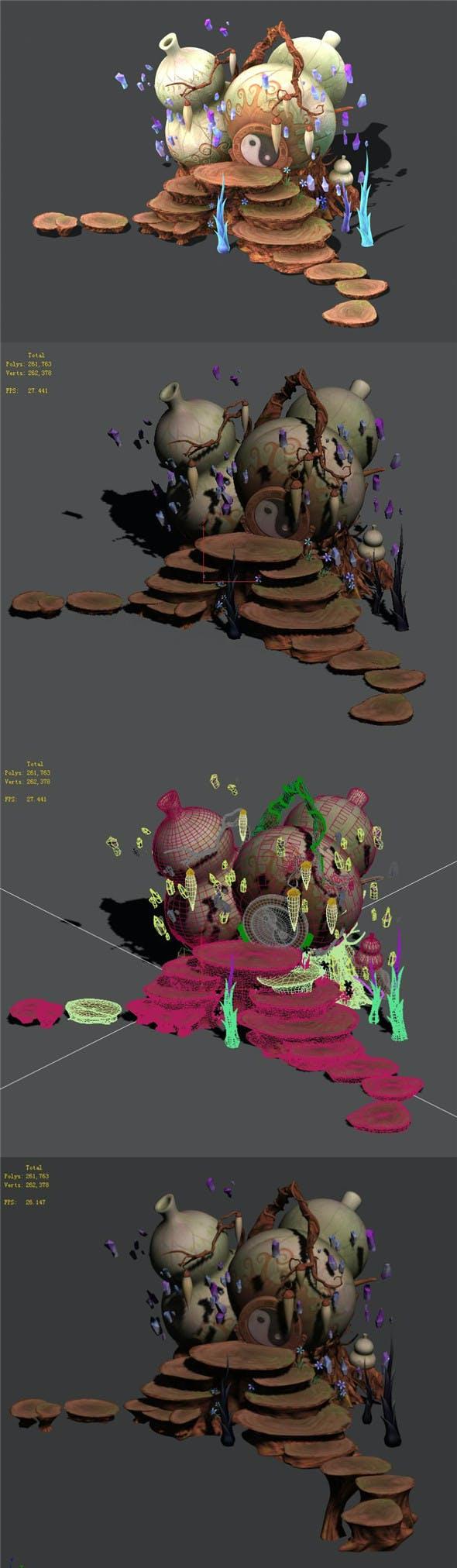 Cartoon sky city - treasure gourd mountain - 3DOcean Item for Sale