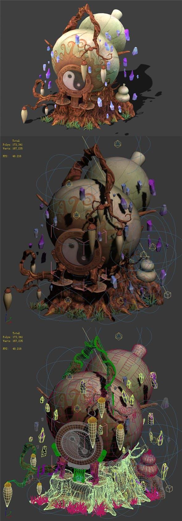 Cartoon sky city - treasure gourd mountain 03 - 3DOcean Item for Sale