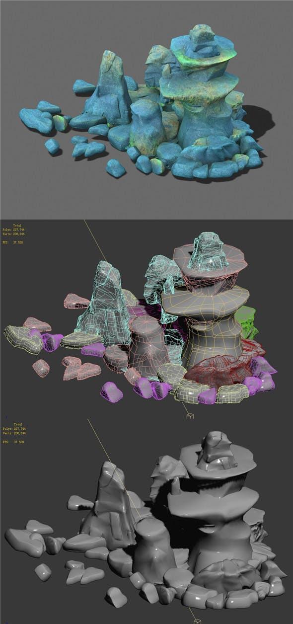 Cartoon sky city - ice and snow terrain rockery - 3DOcean Item for Sale