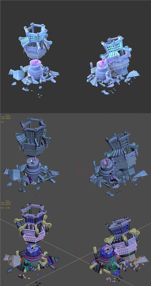 Cartoon Sky City - Izory Tower 02 - 3DOcean Item for Sale