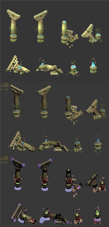 Cartoon Sky City - Temple of the stone pillars - 3DOcean Item for Sale