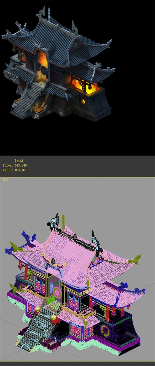 Game model - refining fire temple - 3DOcean Item for Sale
