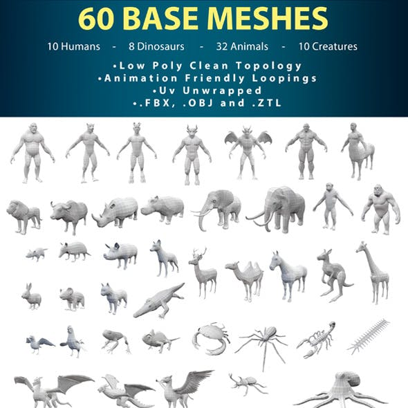 60 Premium Base Meshes Pack