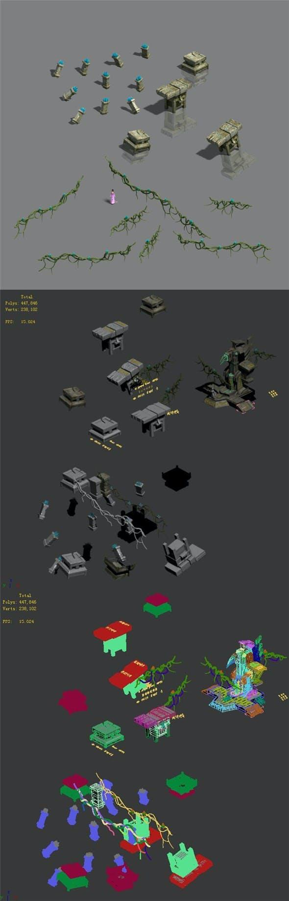 Maya monuments - debris - 3DOcean Item for Sale