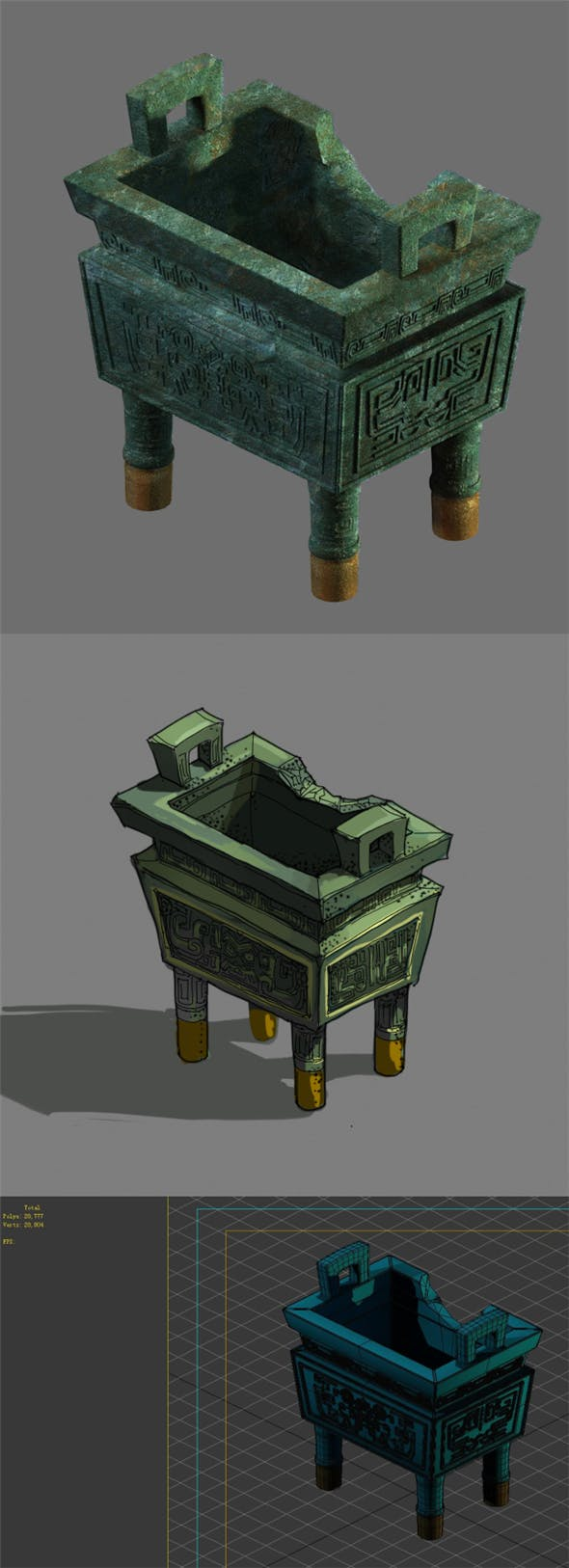 Game Model - Broken Bronze Device - 3DOcean Item for Sale