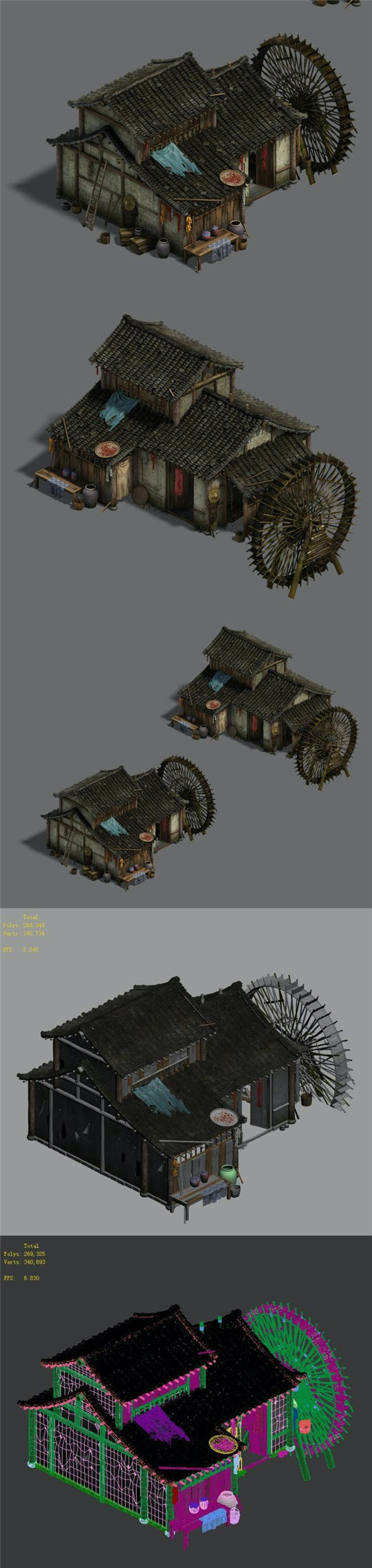Ordinary town - medium - sized houses - waterwheels - 3DOcean Item for Sale
