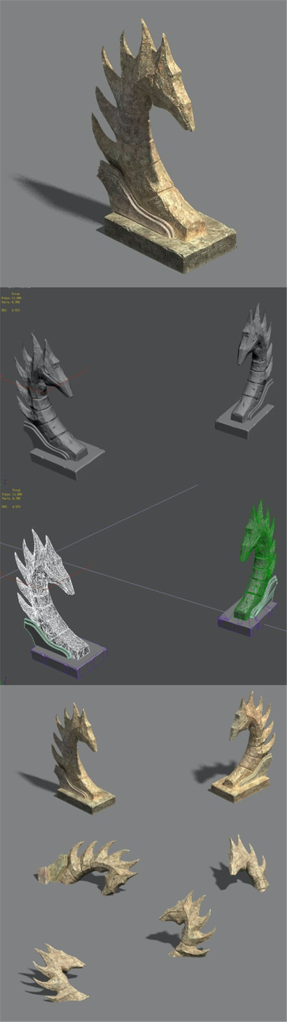 Desert - stone dragon guardian beast 02 - 3DOcean Item for Sale