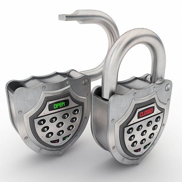 Electronic padlock - 3DOcean Item for Sale