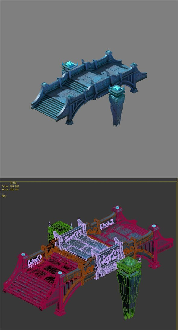 Game model - stone bridge 01 - 3DOcean Item for Sale