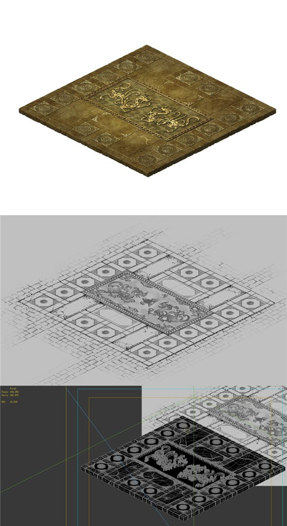 Game Model - stone carved ground surface 02 - 3DOcean Item for Sale