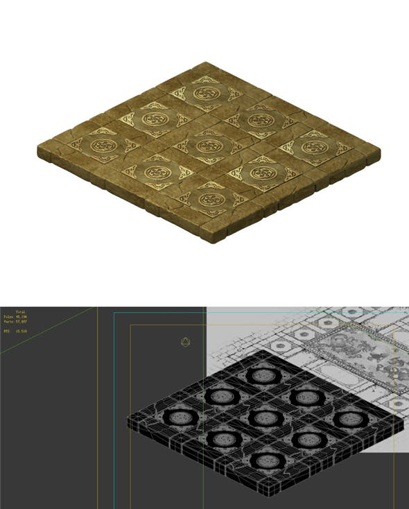 Game model - stone carving ground surface 04 - 3DOcean Item for Sale