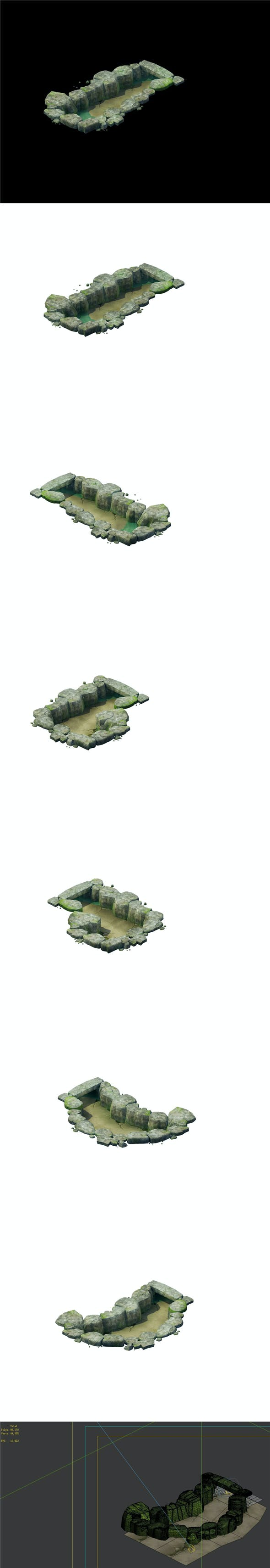 Game Model - Stone Masonry Ditch 01 - 3DOcean Item for Sale