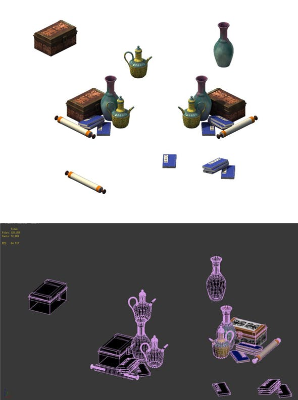 Game model - calligraphy and painting kettle teapot - 3DOcean Item for Sale