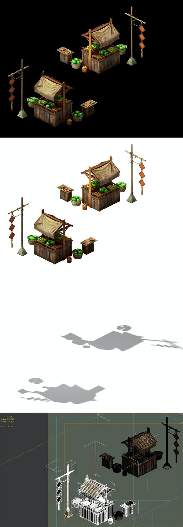 Game Model - Fruit Stall - 3DOcean Item for Sale