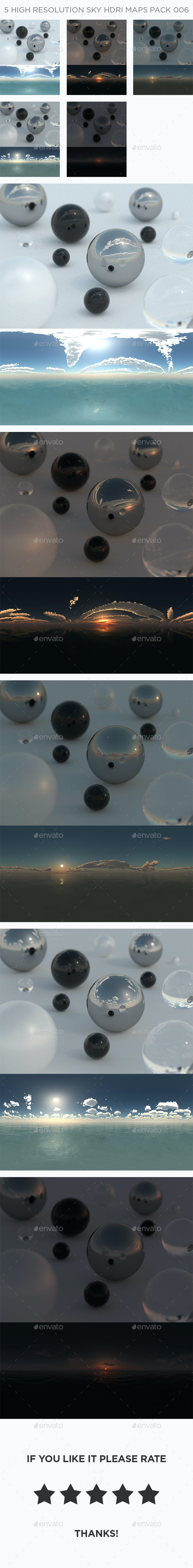 5 High Resolution Sky HDRi Maps Pack 006 - 3DOcean Item for Sale