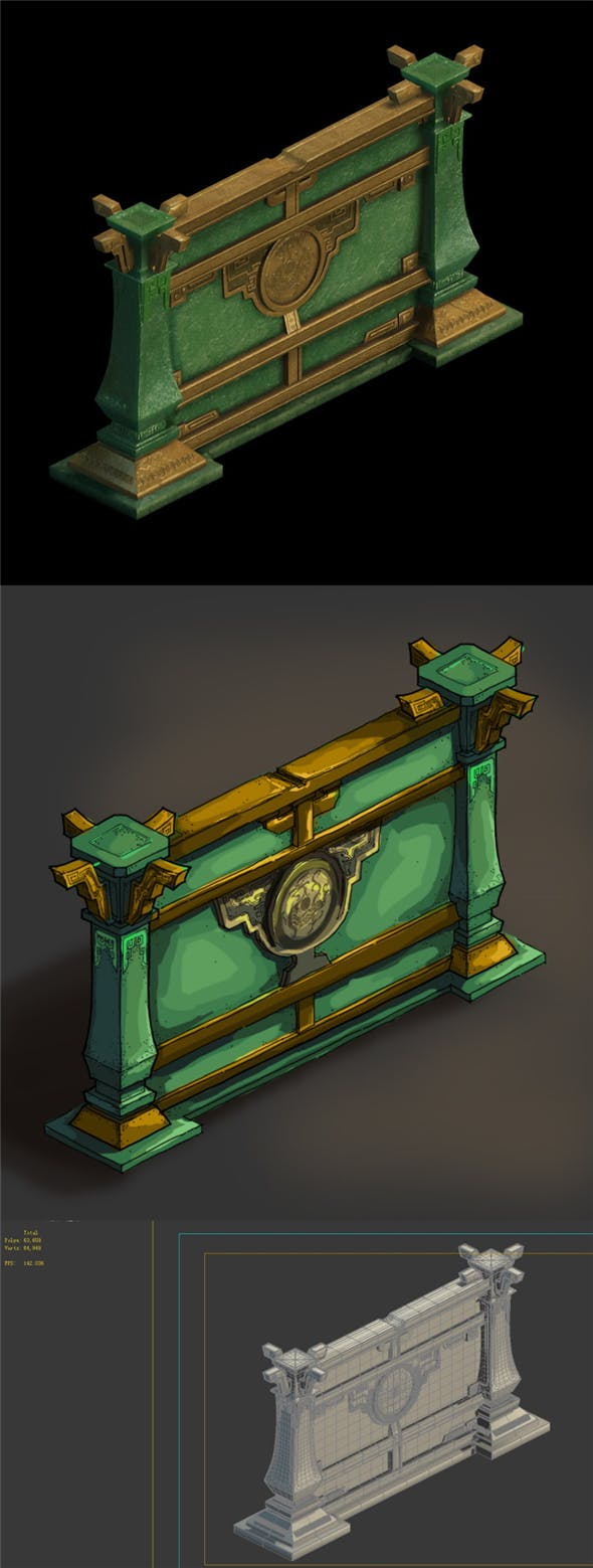 Game model - four holy palace - jade palace wall - 3DOcean Item for Sale