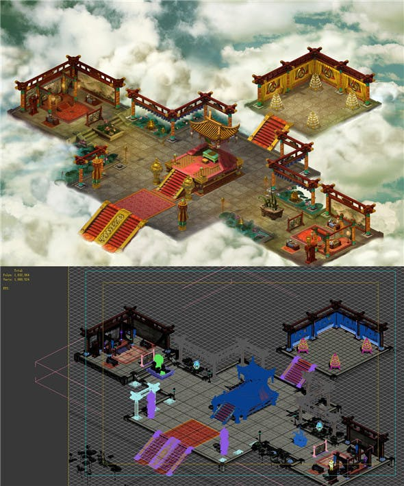 Game model - martial arts game interior design - 3DOcean Item for Sale
