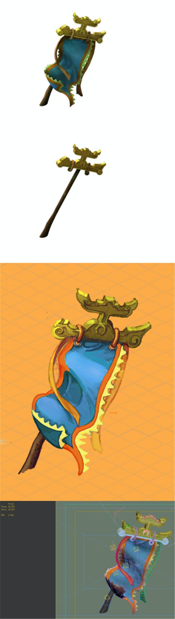 Game model - the banner of the military damage - 3DOcean Item for Sale