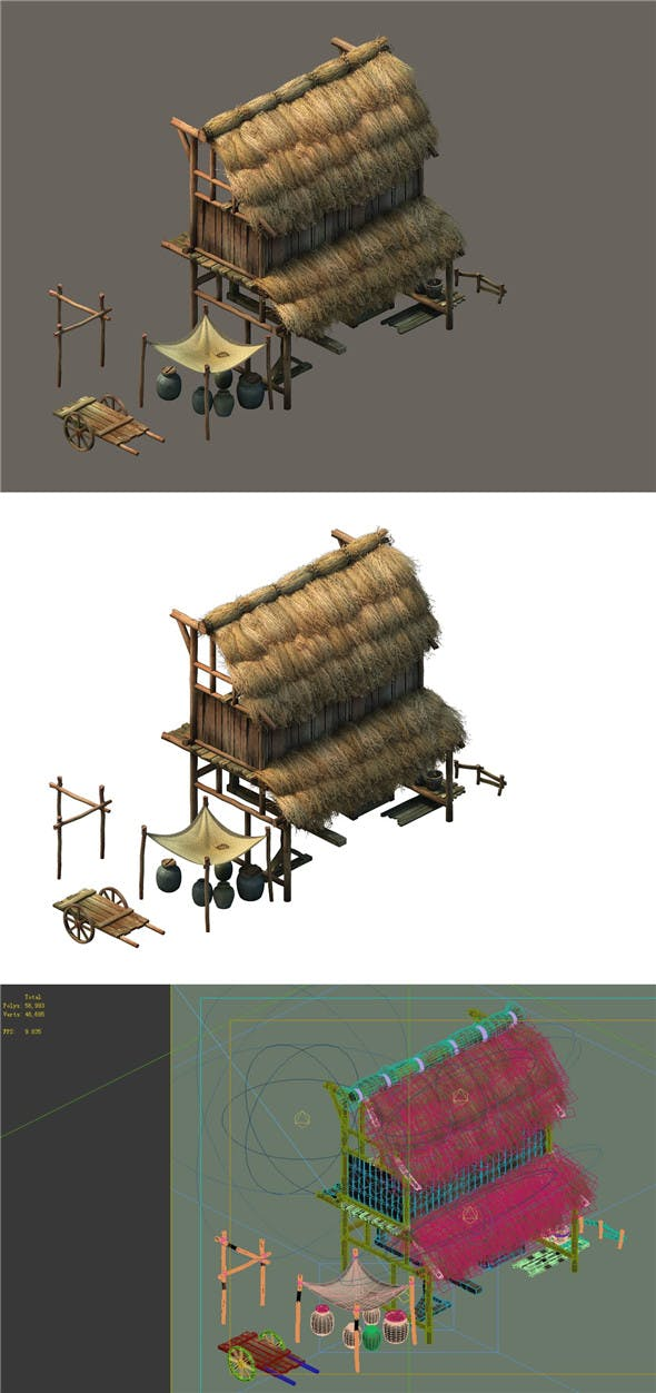 Game model - Small village wooden house 04 - 3DOcean Item for Sale