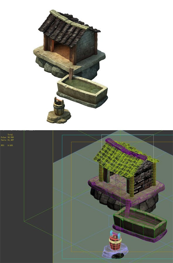Game model - Small village wooden house 05 - 3DOcean Item for Sale