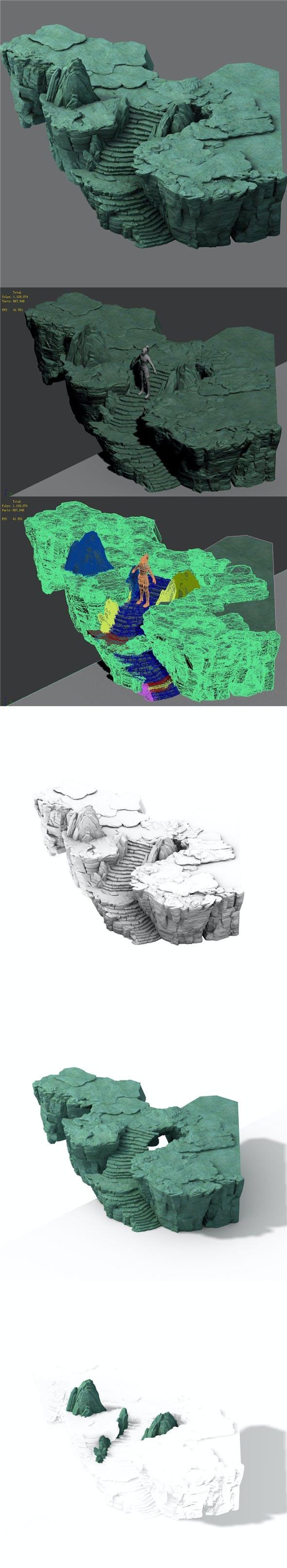 Field - terrain stone ladder - 3DOcean Item for Sale