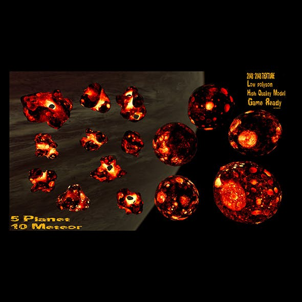 asteroid set - 3DOcean Item for Sale