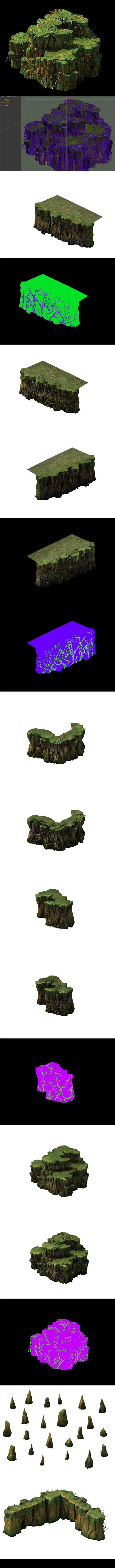 Game Models - poison Valley scene - rock walls covered with vines - 3DOcean Item for Sale