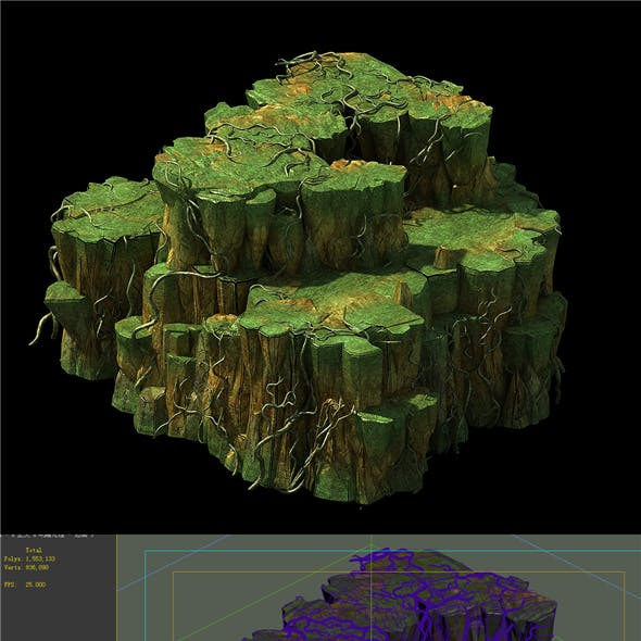 Game Models - poison Valley scene - rock walls covered with vines