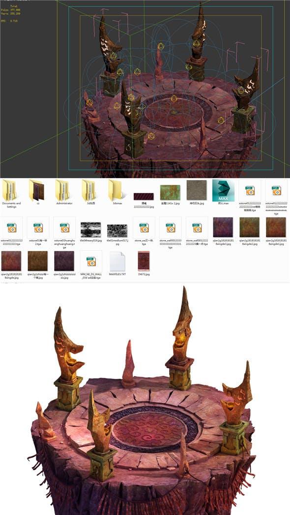 Built on cliff religion Zoroastrianism Altar 01 - 3DOcean Item for Sale
