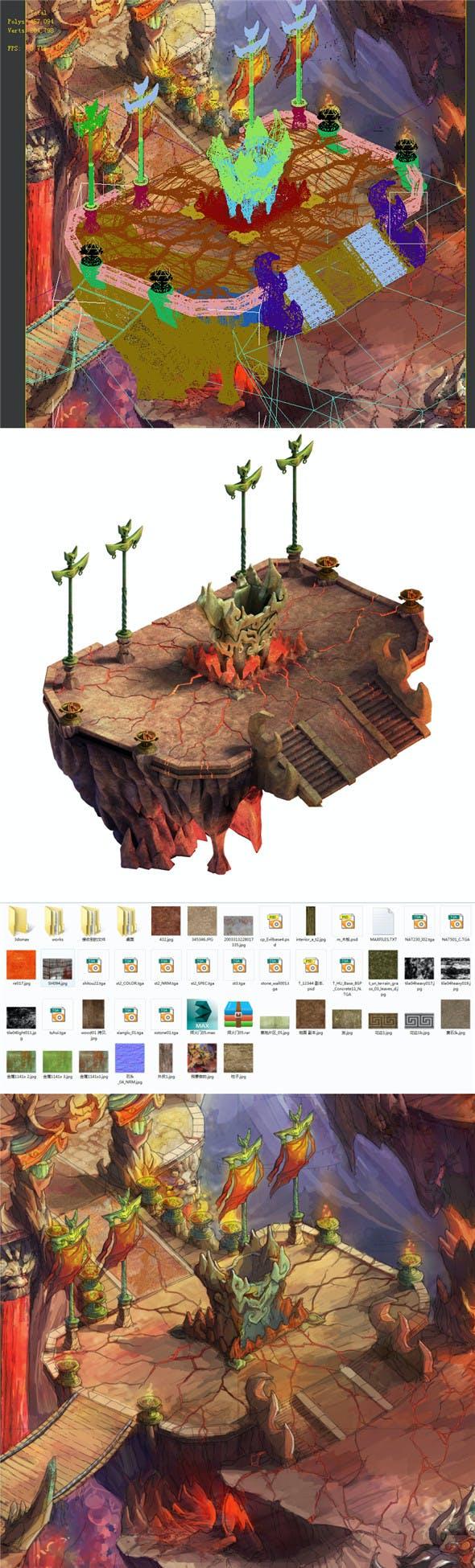Built on cliff religion Zoroastrianism Great Altar 01 - 3DOcean Item for Sale