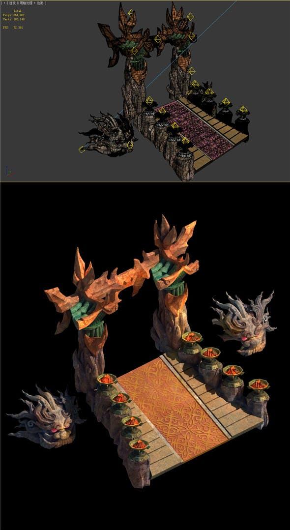 Built on cliff religious altar Zoroastrianism portal 01 - 3DOcean Item for Sale