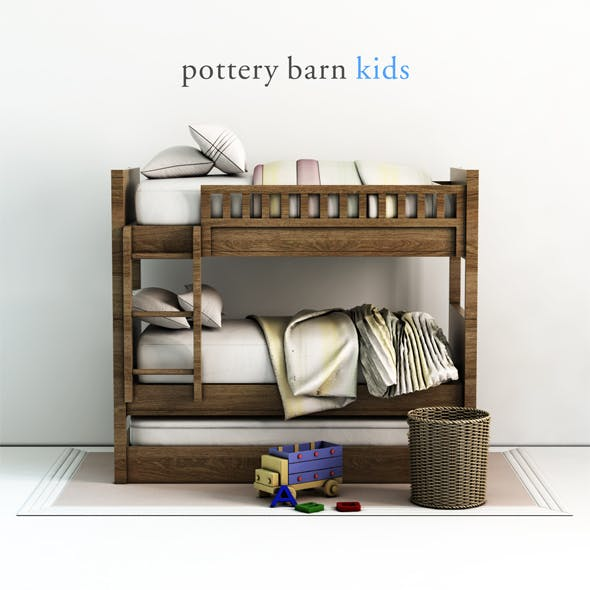 Pottery barn, Camp Twin-Over-Twin Bunk Bed. - 3DOcean Item for Sale