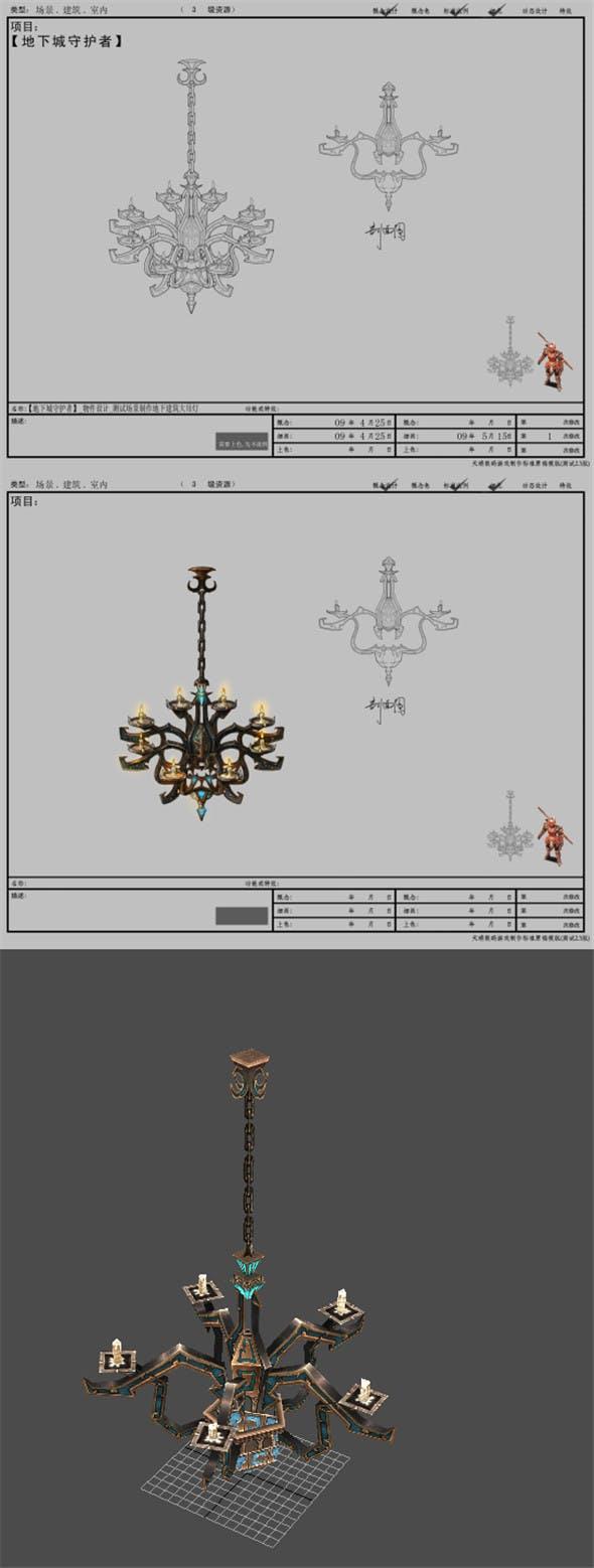Game Arena test scenario model - chandeliers 01 - 3DOcean Item for Sale