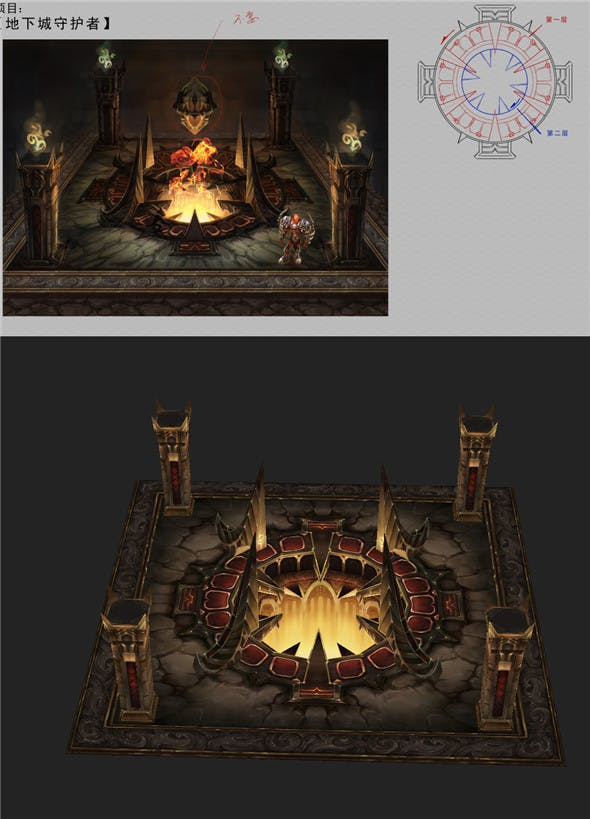 Game Arena test scenario model - Heart of Town 01 - 3DOcean Item for Sale
