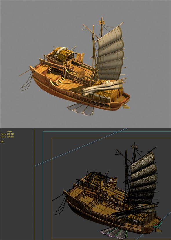 Game Model - Campanula Island scene - a large wooden boat 01 - 3DOcean Item for Sale