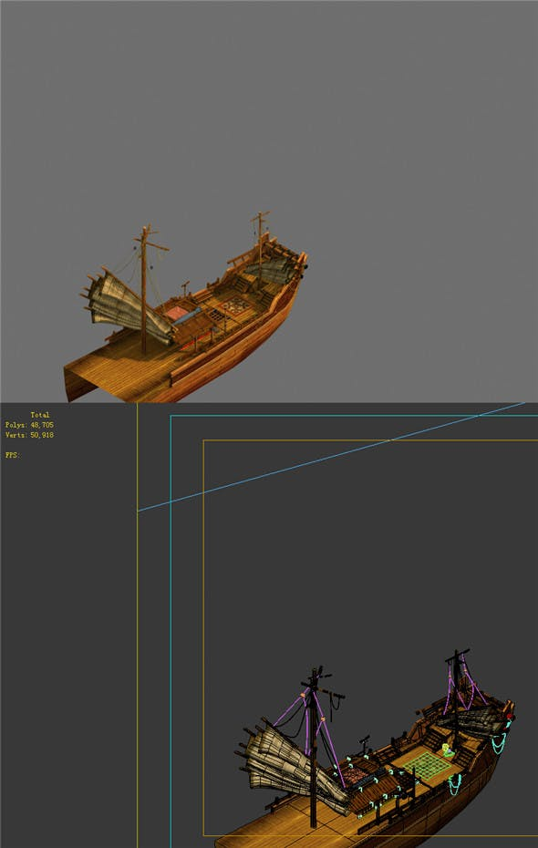 Game Model - Campanula Island scene - a large wooden boat 02 01 - 3DOcean Item for Sale