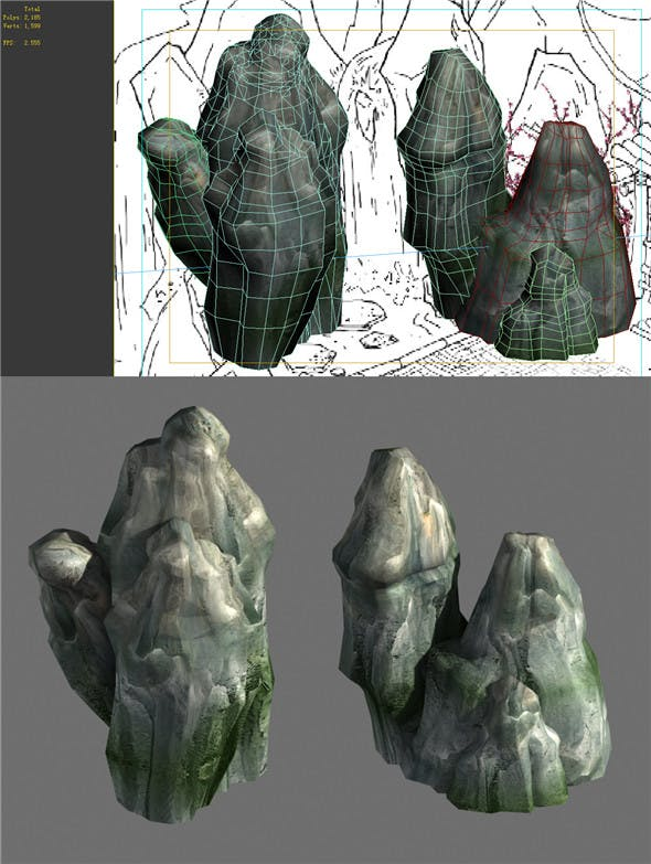 Game Model - Campanula Island scene - mountain stone 01 - 3DOcean Item for Sale