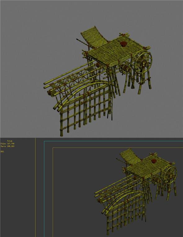 Game Model - Campanula Island scene - wooden door organs 01 - 3DOcean Item for Sale