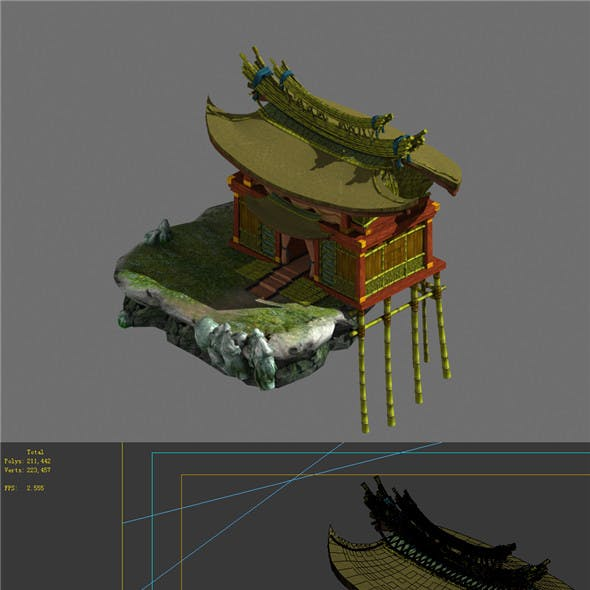 Game Model - Campanula island scenes - to build a house on a lake 01