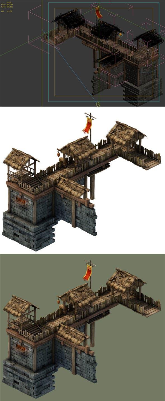 Game Model - prairie scene - Black Wind Village door - left walls 01 - 3DOcean Item for Sale
