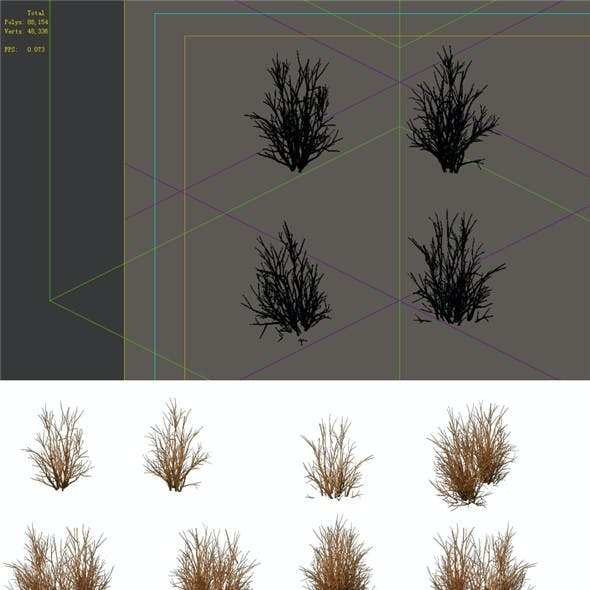 Game Model - prairie scene - Desert Plants 04 01