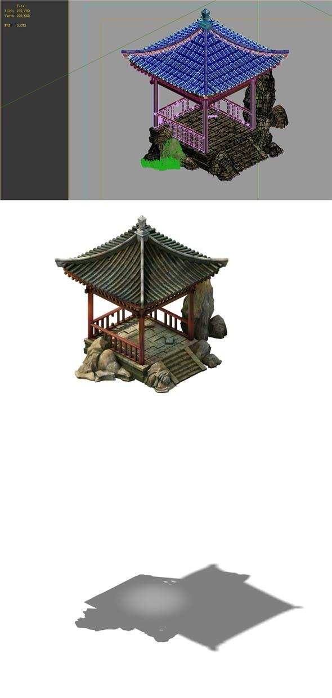 Game Model - prairie scene - gazebo 01 - 3DOcean Item for Sale