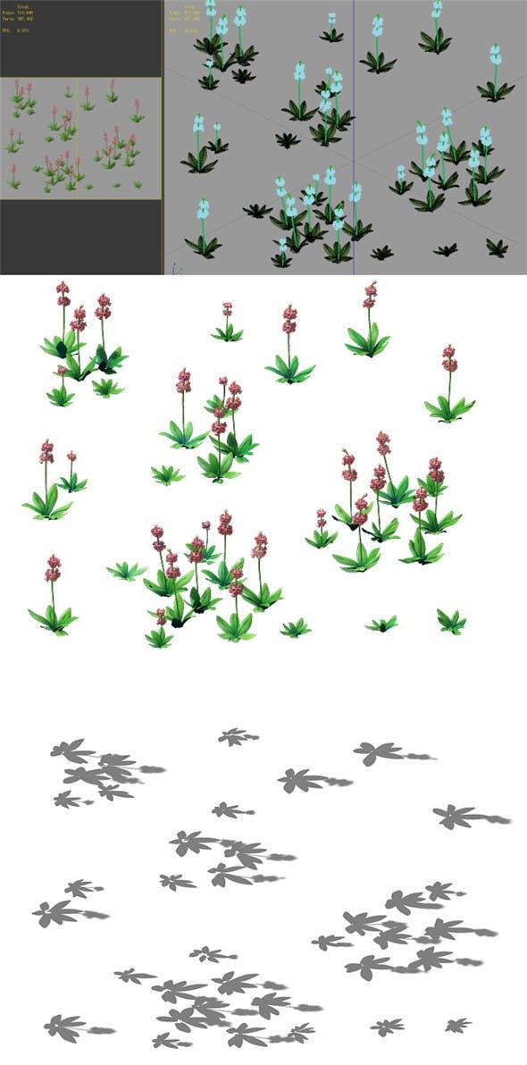 Game Model - prairie scene - Grass 03 01 - 3DOcean Item for Sale