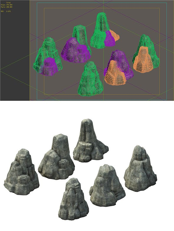 Game Model - prairie scene - grass stone 01 - 3DOcean Item for Sale