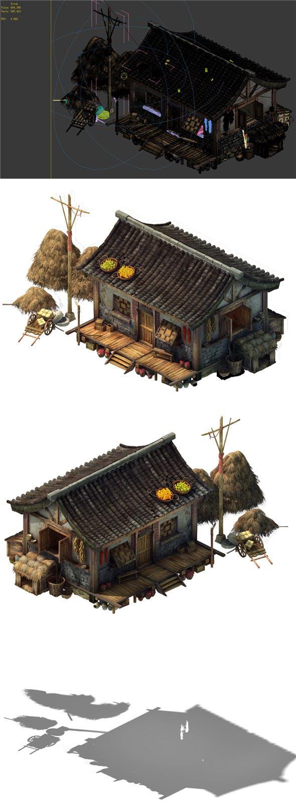 Game Model - prairie scene - Grassland Area Houses 02 01 - 3DOcean Item for Sale
