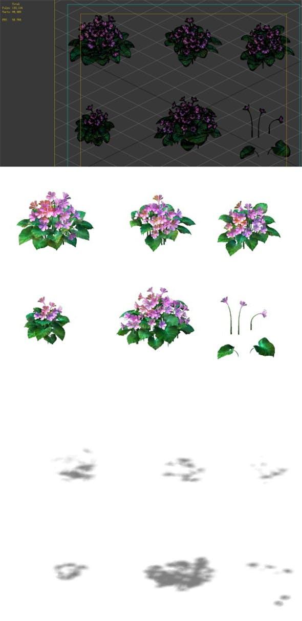 Game Model - prairie scene - long flower plants 02 01 - 3DOcean Item for Sale