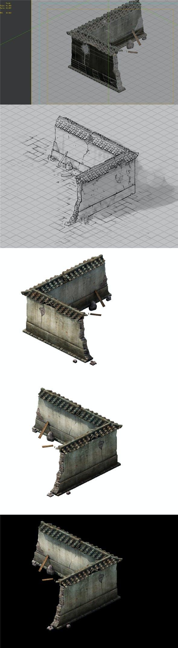 Game Model - prairie scene - ruins of broken walls 01 - 3DOcean Item for Sale