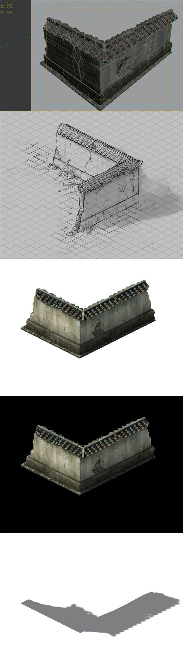 Game Model - prairie scene - ruins of broken walls 02 01 - 3DOcean Item for Sale