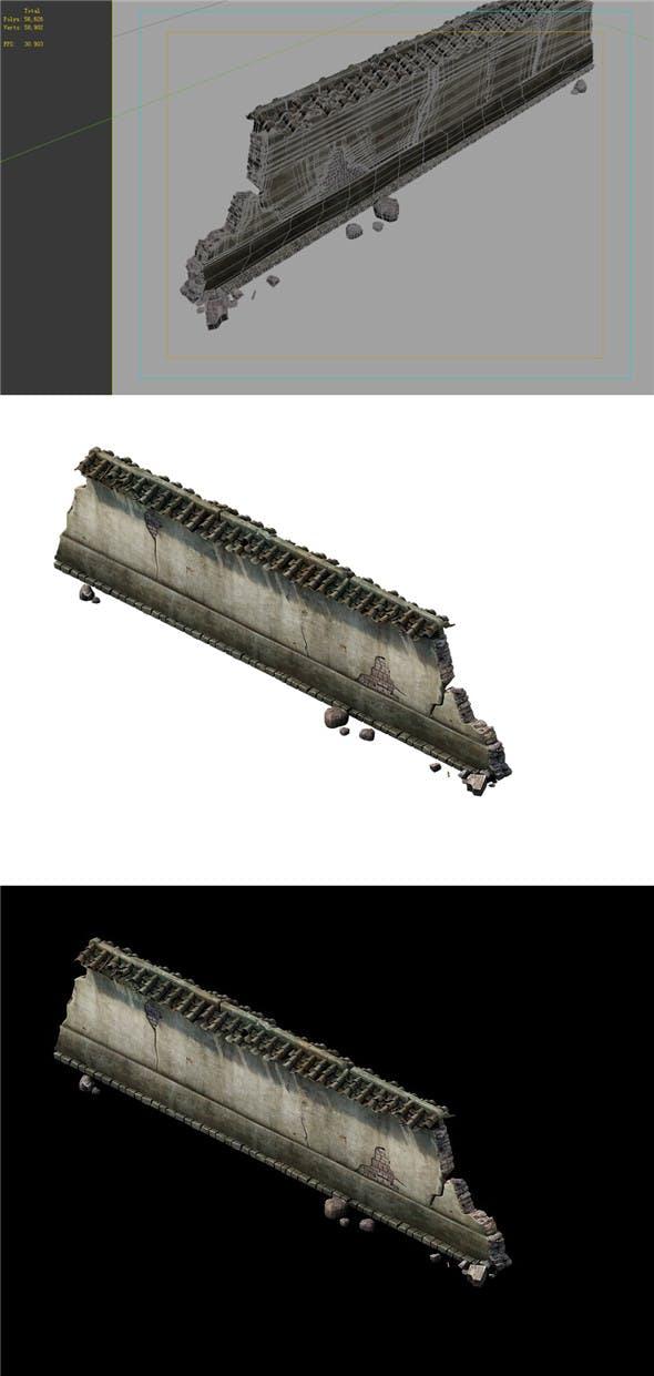 Game Model - prairie scene - ruins of broken walls 03 01 - 3DOcean Item for Sale